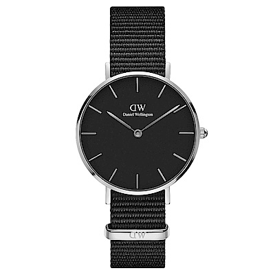 DW Daniel Wellington 典雅康沃爾黑NATO錶帶石英腕錶-銀框/32mm