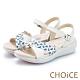 CHOiCE 麻花雙色皮革編織造型涼鞋 米色 product thumbnail 1
