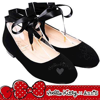 HELLO KITTY X Ann'S毛茸茸2WAY緞帶芭蕾舞平底鞋-黑