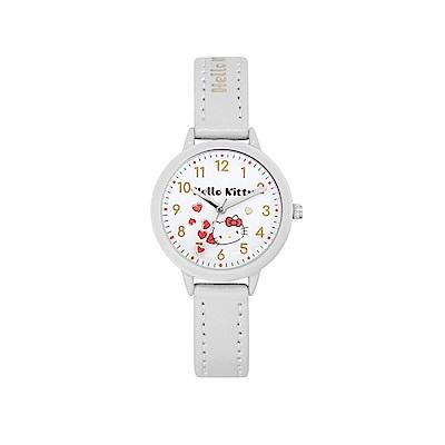 HELLO KITTY 凱蒂貓 粉嫩簡約造型手錶-白/32mm