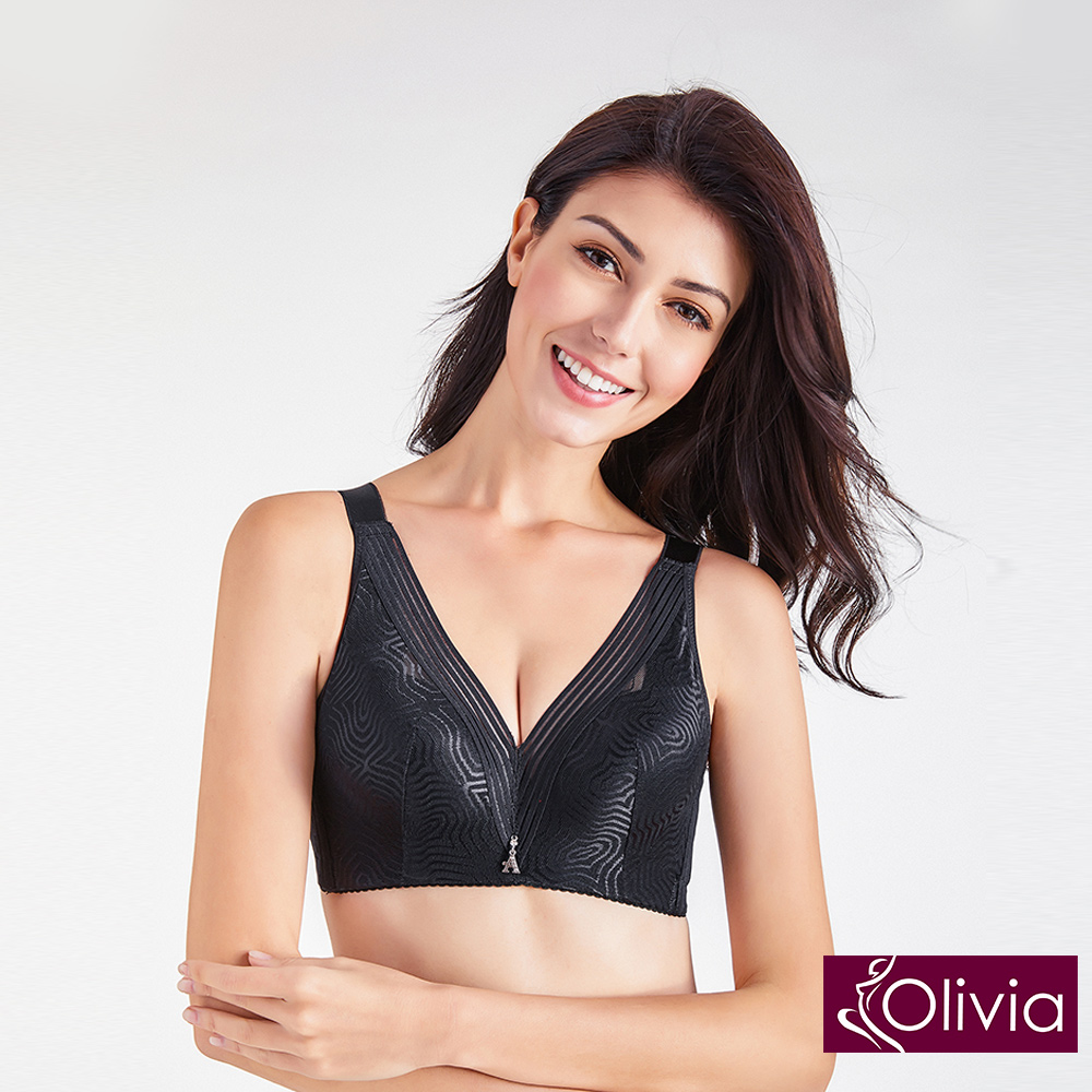 Olivia 無鋼圈薄款加大尺碼浪漫網紗內衣-黑色