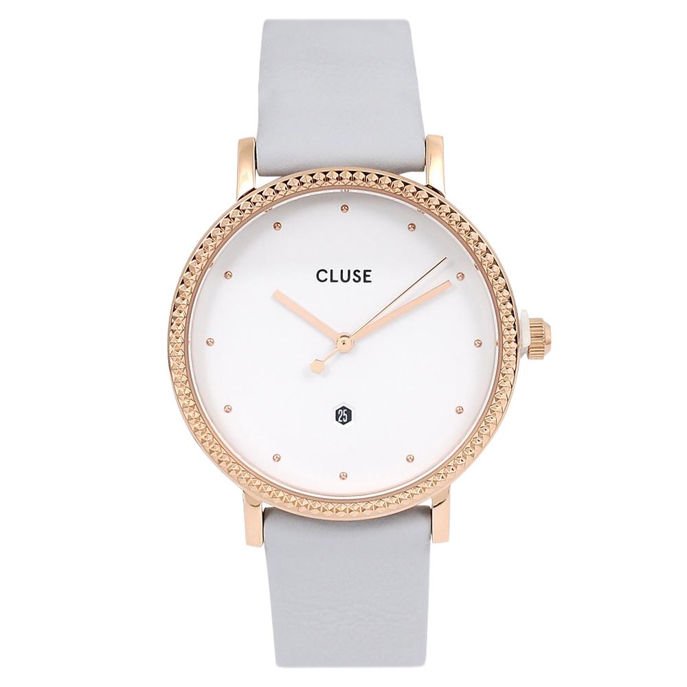CLUSE荷蘭精品手錶 Le Couronnement系列 白錶盤/灰色皮革錶帶33mm