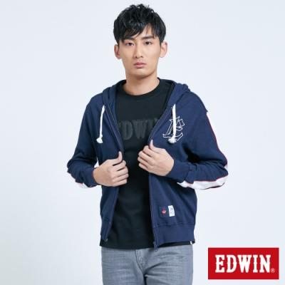 EDWIN 復古運動 連帽拉鍊外套-男-丈青