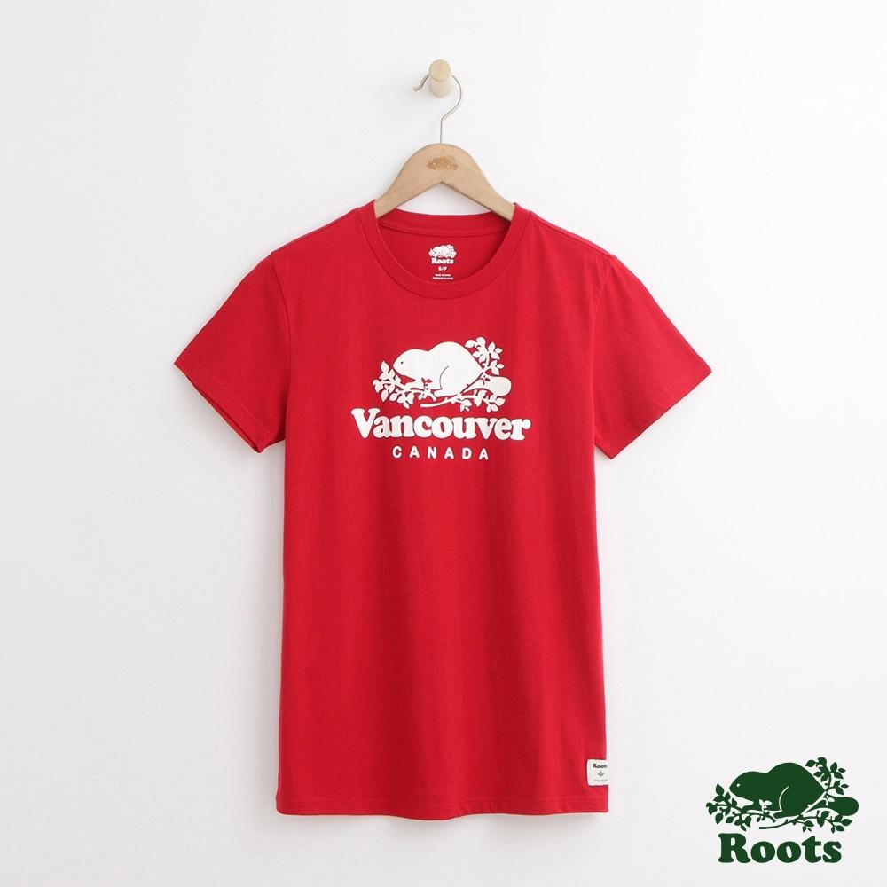女裝Roots-溫哥華城市短袖T恤-紅色
