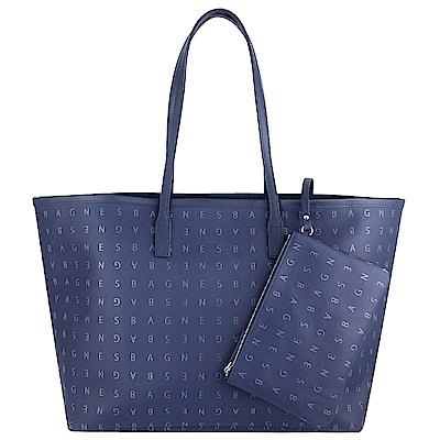 agnes b. voyage 藍色品牌字樣防水材質大型托特包