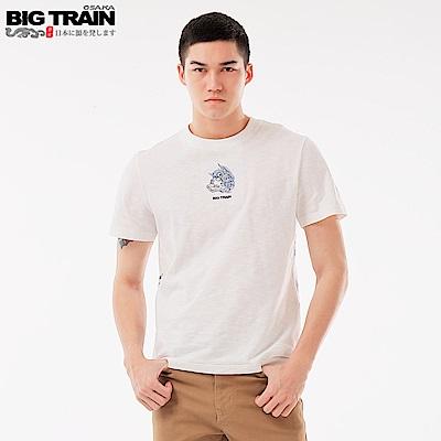 BigTrain 月夜堂獅圓領短袖-男-牙白