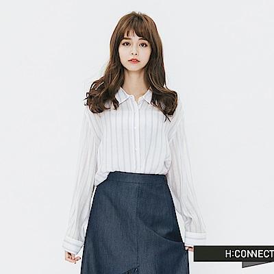 H:CONNECT 韓國品牌 女裝-直條紋配色嫘縈襯衫-紫