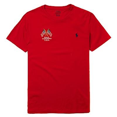 Polo Rlaph Lauren 年度熱銷旗幟小馬圓領素面短袖T恤-紅色