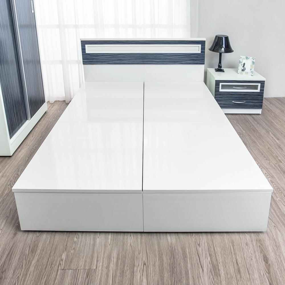 Birdie南亞塑鋼-5尺雙人塑鋼加高型側掀收納床底(不含床頭片)(白色)