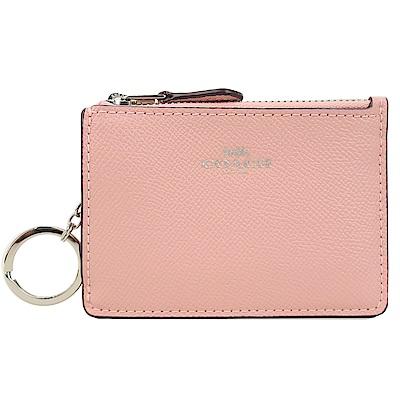 COACH 馬車防刮皮革後卡夾鑰匙零錢包(櫻花粉)