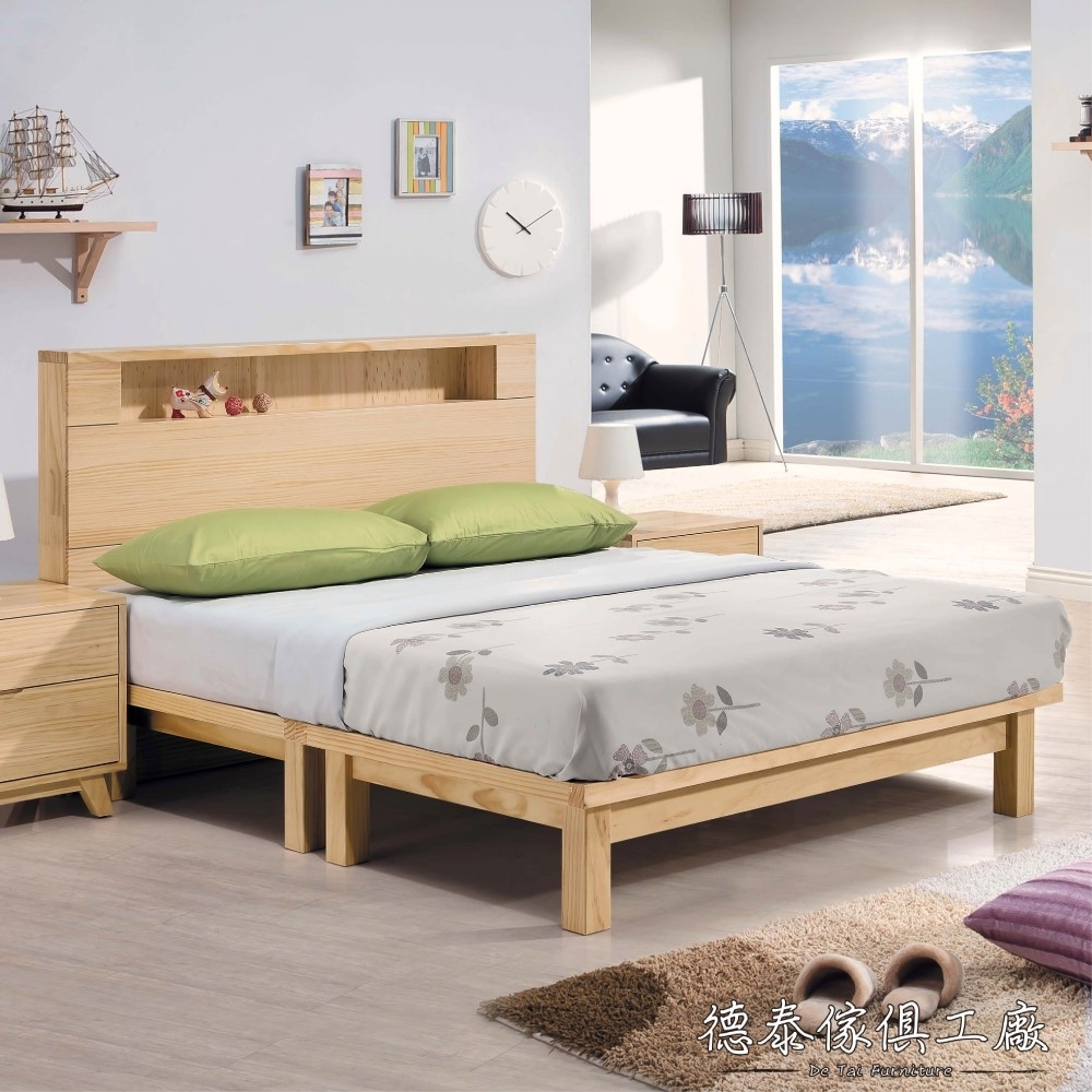 D&T 德泰傢俱 ROBEN 北歐全實木6尺床架式雙人床 -182x202x106cm