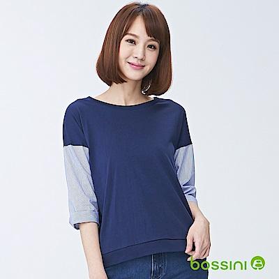 bossini女裝-圓領七分袖上衣01海軍藍