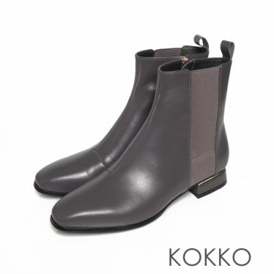KOKKO時髦方頭小牛皮拉鍊粗跟短靴霧面灰