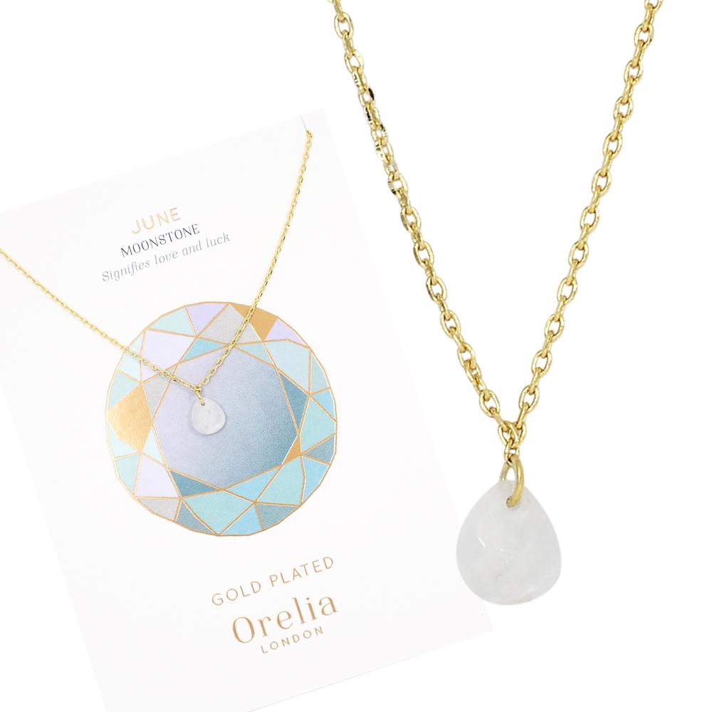 Orelia英國品牌 六月月光石誕生石金色項鍊