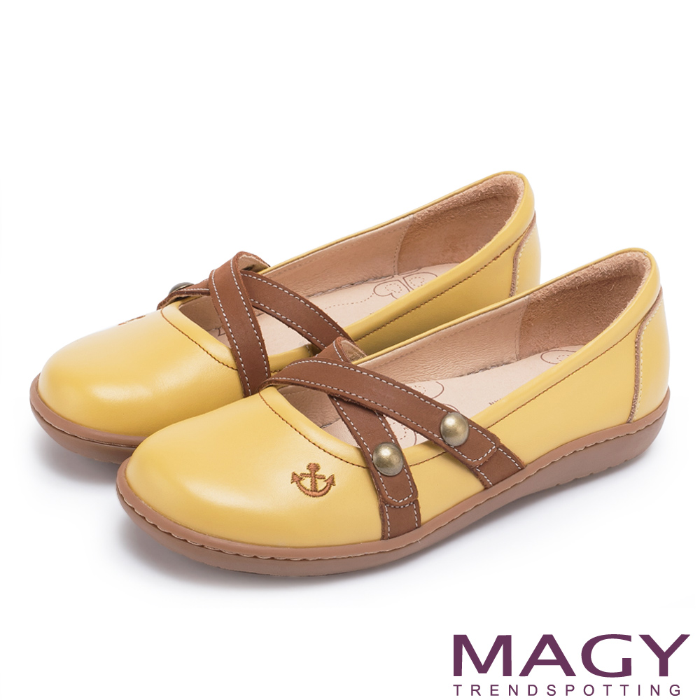 MAGY 舒適優雅 真皮Q軟船錨車線休閒包鞋-黃色