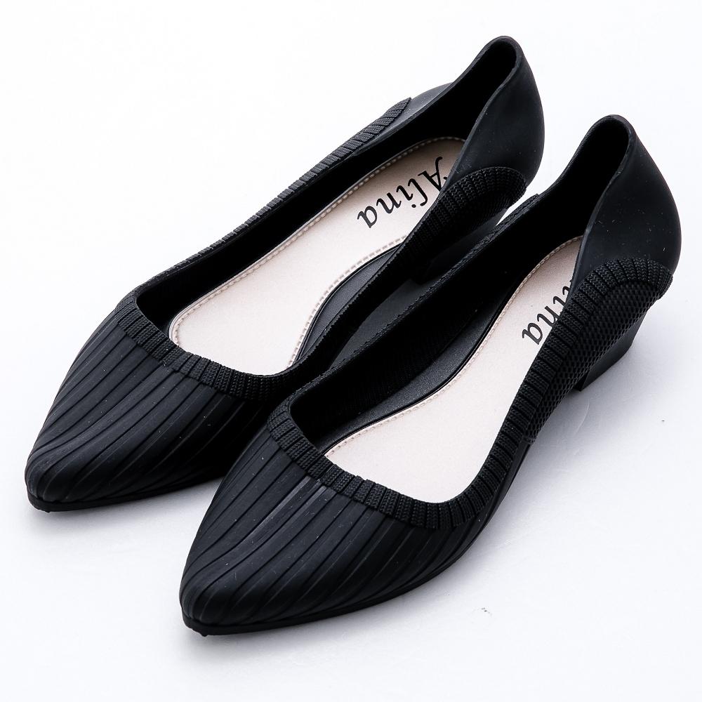 River&Moon晴雨二穿超Q軟幾何條紋尖頭楔型跟鞋 黑