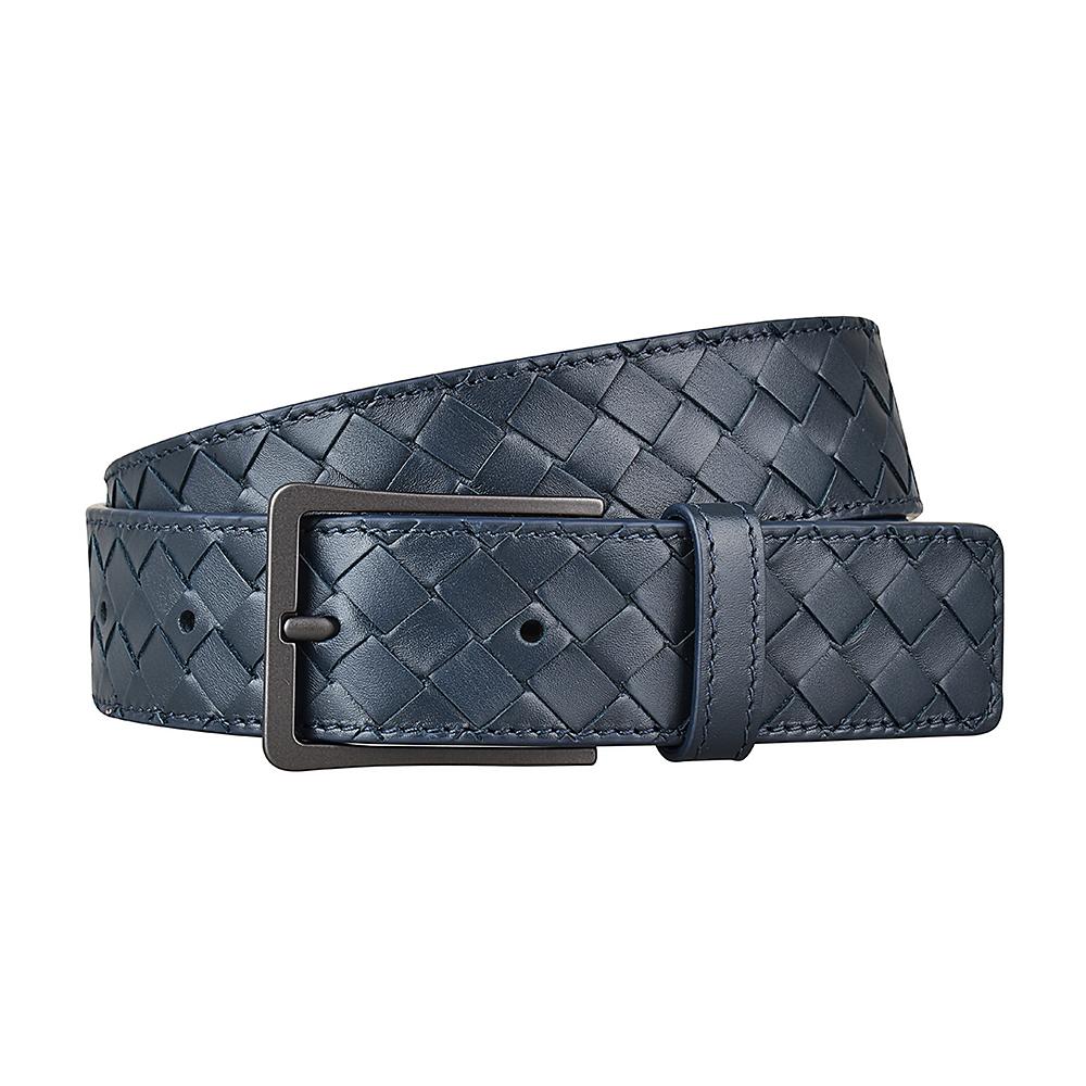 BV BOTTEGA VENETA經典編織設計小牛皮扣式皮帶(午夜藍)