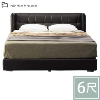 柏蒂家居-德昂特6尺雙人加大黑皮革厚床底(不含床頭床墊)