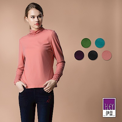 ILEY伊蕾 抽摺高領高彈刷毛內搭衣(黑/紫/粉/藍/綠)