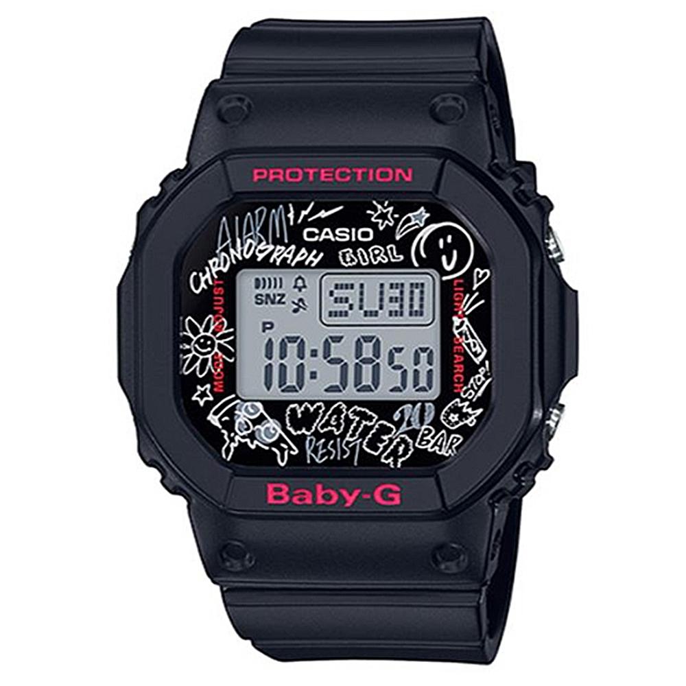 BABY-G 塗鴉設計方形電子休閒錶-黑(BGD-560SK-1)/40mm