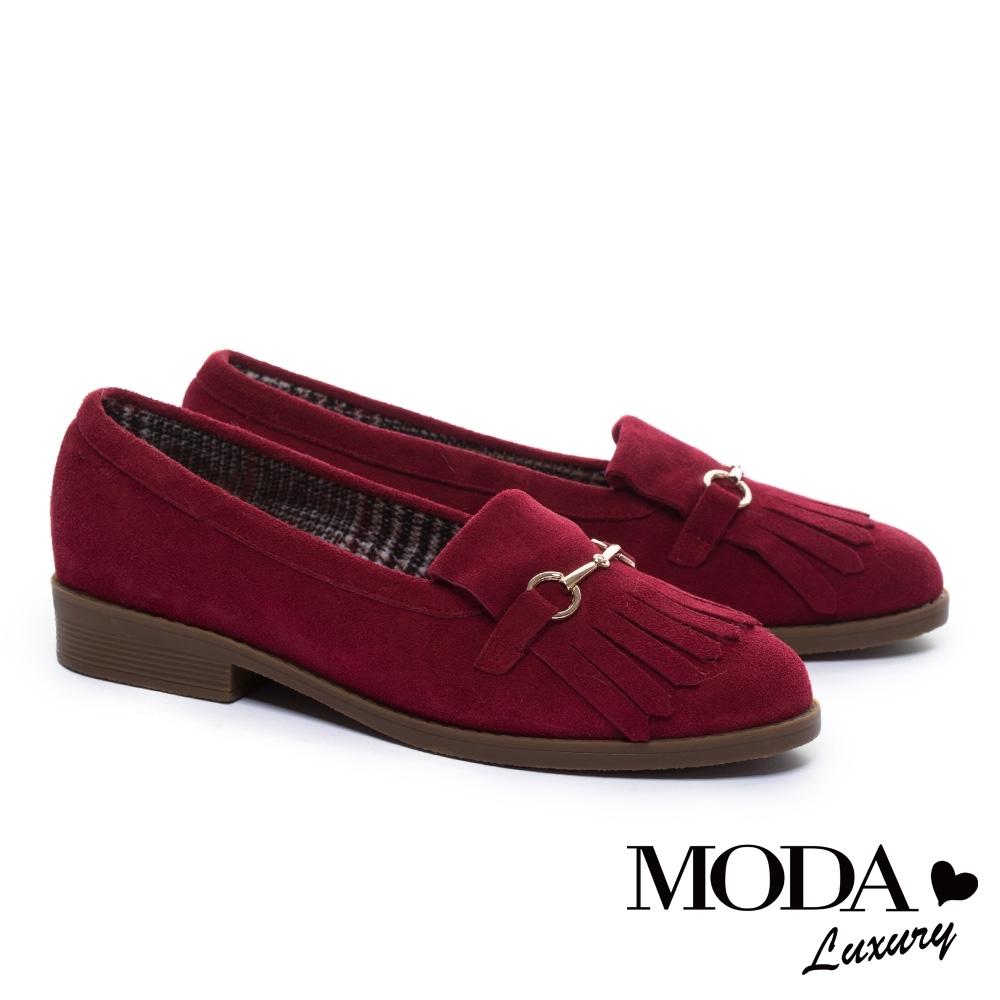 跟鞋 MODA Luxury 復古流蘇金屬釦麂皮樂福低跟鞋-紅