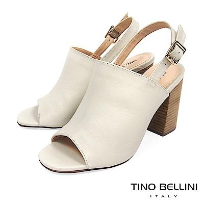 Tino Bellini 巴西進口極簡質感後釦帶魚口跟鞋 _ 白