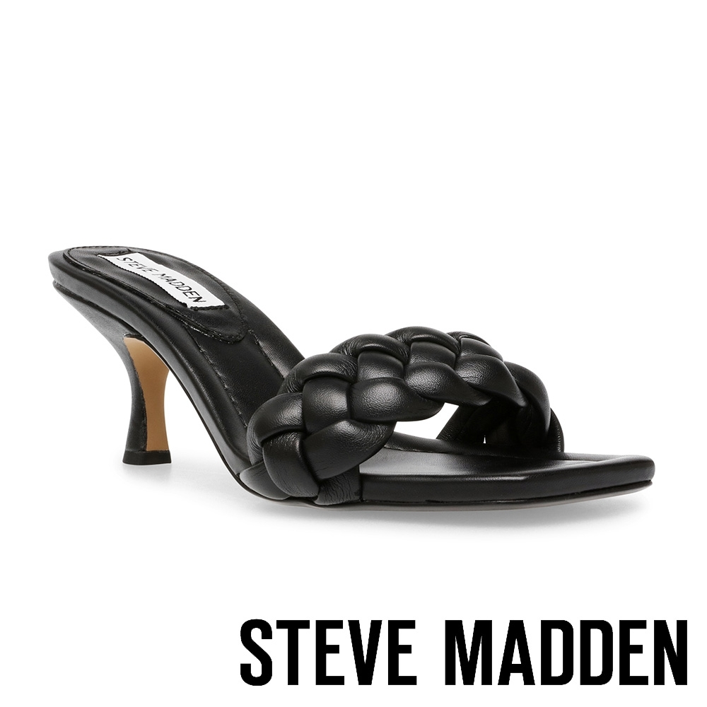 STEVE MADDEN-ASSIST 編織方頭細跟涼拖鞋-黑色 product image 1