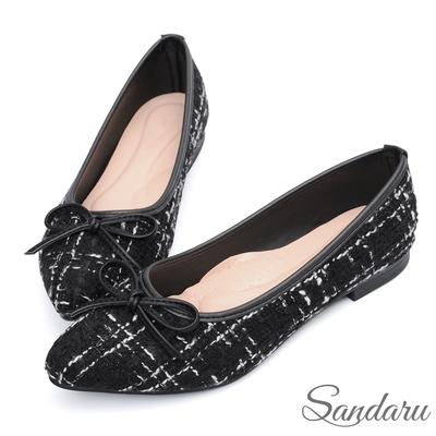 山打努SANDARU-尖頭鞋 小香風蝶結毛呢格紋平底鞋-黑