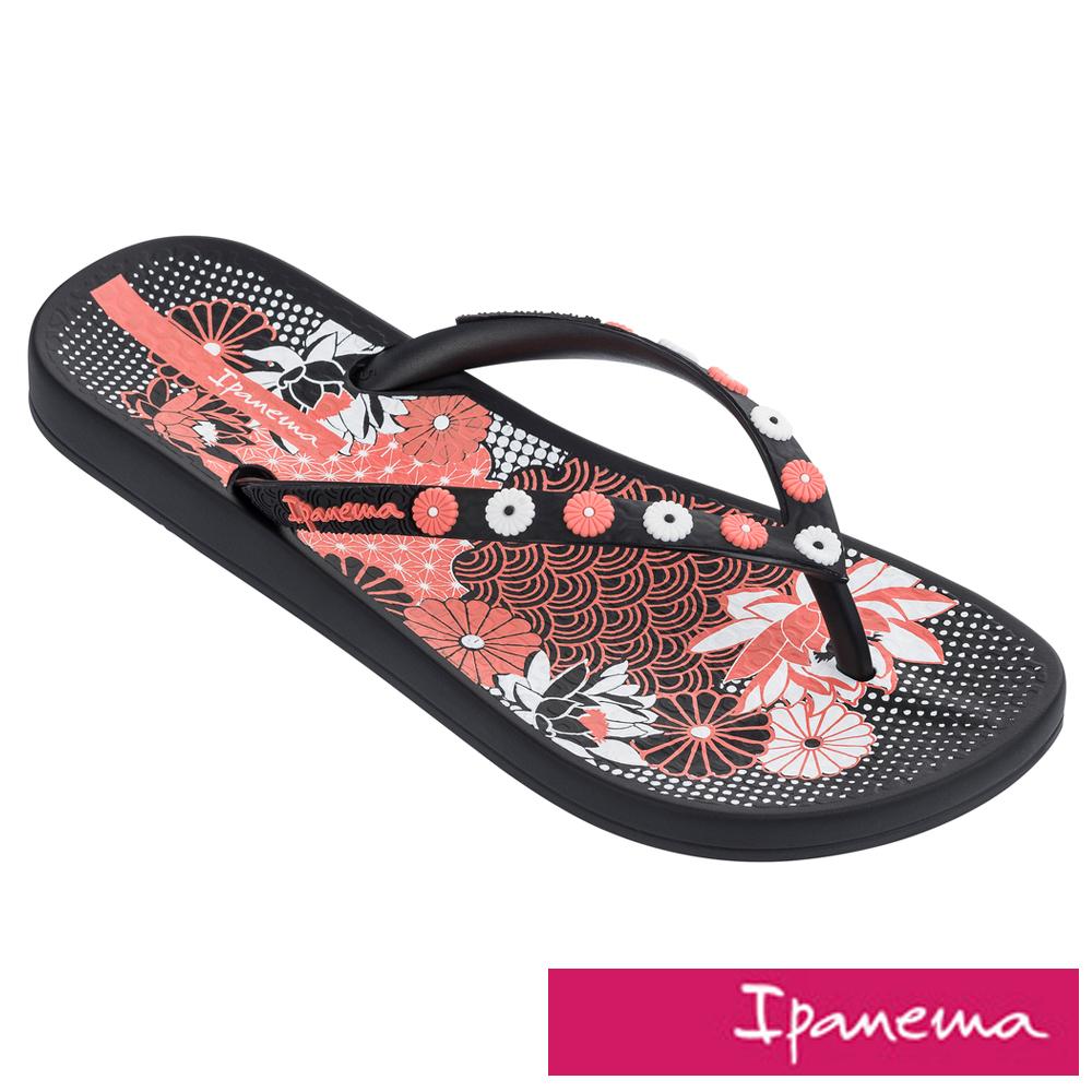 IPANEMA 閃耀花園人字拖鞋-黑色/粉色印花