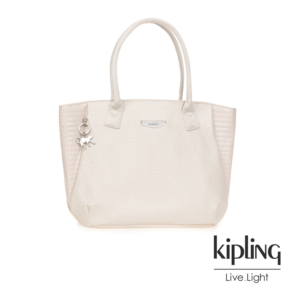 Kipling 高雅米白壓紋壓紋梯形肩背包-IMOR