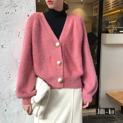 JILLI-KO 韓版仿兔毛金屬釦質感針織外套- 綠/粉