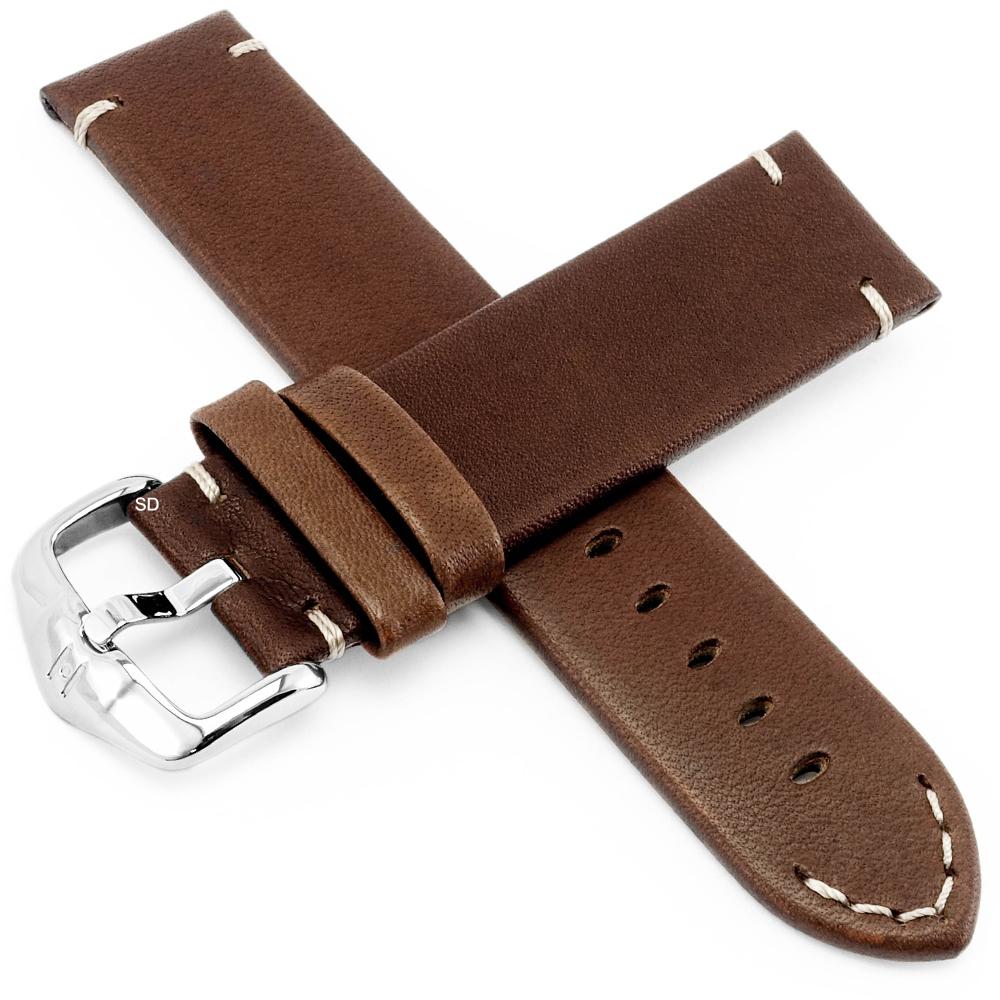 海奕施 HIRSCH Ranger L質感縫線小牛皮手錶帶-棕