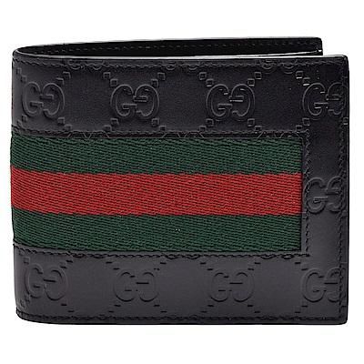 GUCCI 經典Signature系列GG印花綠紅綠織帶小牛皮折疊短夾(黑-12卡)