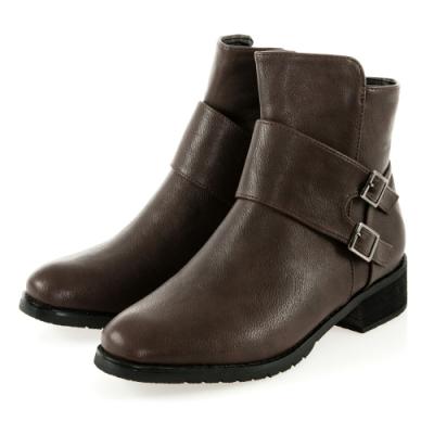 JMS-人氣焦點寬帶雙釦環造型拉鍊短靴-棕色