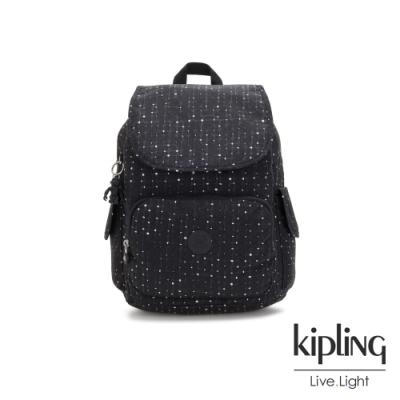 Kipling 低調質感緹花拉鍊掀蓋後背包-CITY PACK