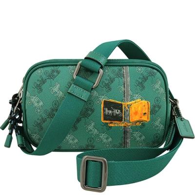 COACH 翡翠綠色馬車圖樣PVC雙層斜背包