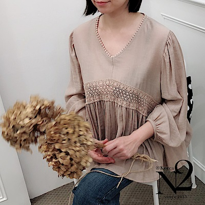 正韓V領日系純棉質感造型七分袖上衣(藕色) N2