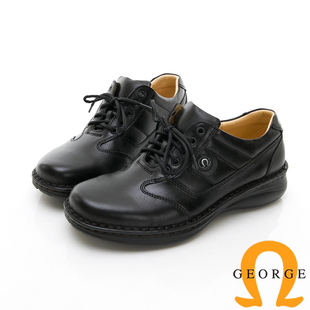 【GEORGE 喬治皮鞋】休閒系列 拼接運動休閒皮鞋-黑色