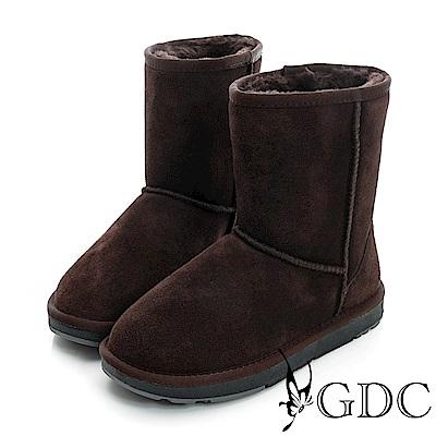 GDC-真皮基本百年不敗款素面中筒雪靴-咖色