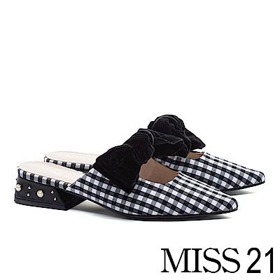 低跟鞋 MISS 21 俏麗可人蝴蝶結造型低跟穆勒鞋-黑白格紋