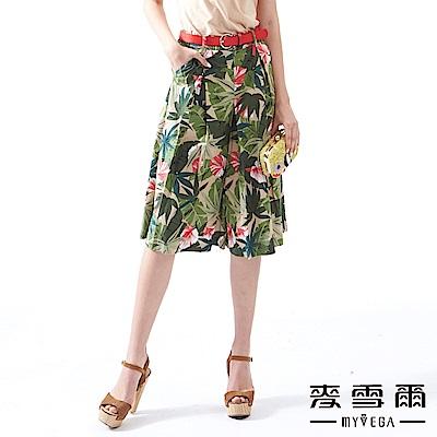 【麥雪爾】棉麻荷葉印花打褶寬褲裙