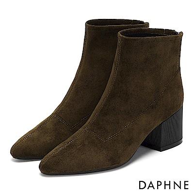 達芙妮DAPHNE 短靴-原色質感絨面復古直紋粗跟-橄欖綠