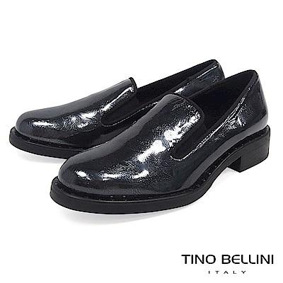 Tino Bellini 義大利進口帥勁金屬皮紋樂福鞋 _ 藍