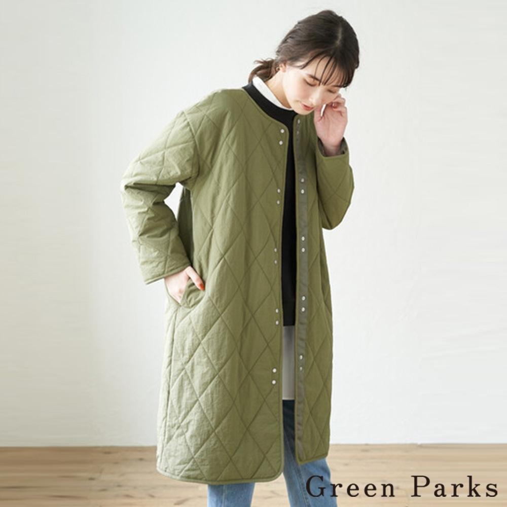 Green Parks 保暖菱格壓紋長版大衣
