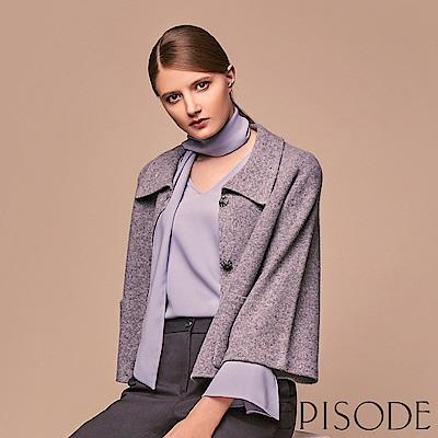 EPISODE - 翻領造型毛料素色短版外套(灰)