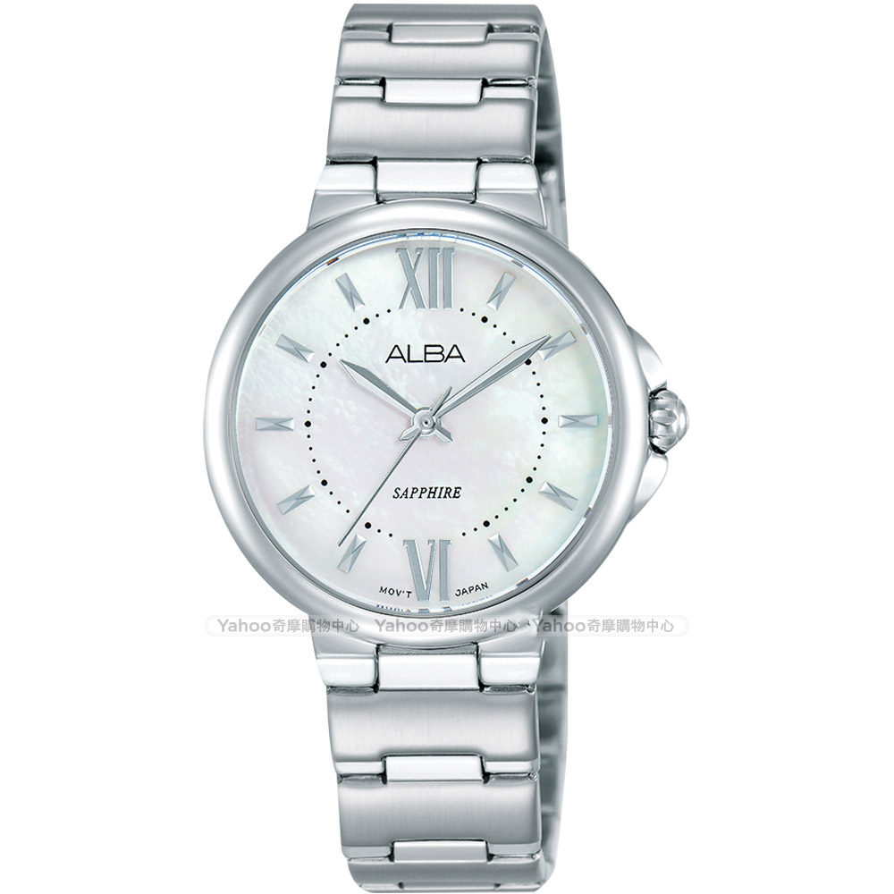 ALBA 雅柏 時尚俏女孩石英女錶(AH8451X1)-珍珠貝x銀/30mm