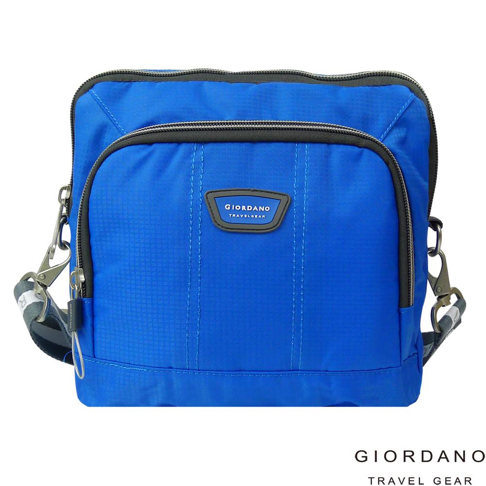 GIORDANO 佐丹奴格休閒格紋雙色斜側背包(藍)