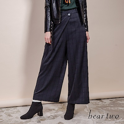 beartwo 經典英式復古格紋造型寬褲(黑色)