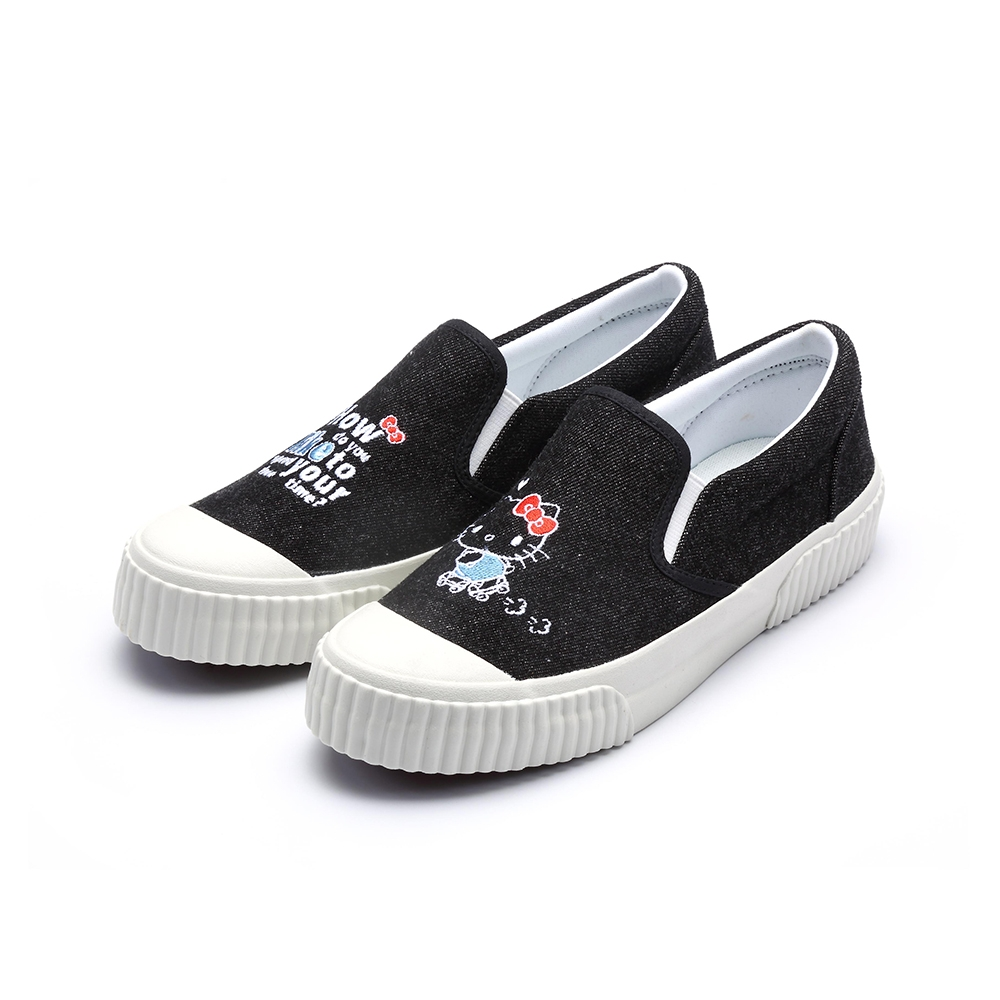 HELLO KITTY艾樂跑女鞋-不對稱電繡懶人鞋-黑(921008)