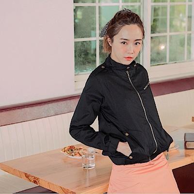 KITTY搖滾系列~純棉率性立領拉鍊外套-OB大尺碼